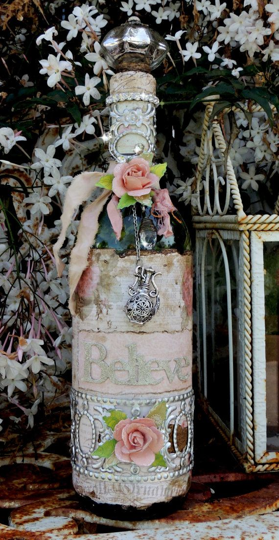 Rose and Metal Adorned Shabby Chic Believe Bottle on Etsy, $40.00