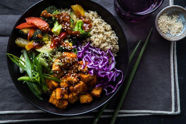 Korean BBQ Tofu Bowls with Stir-Fried Veggies and Quinoa