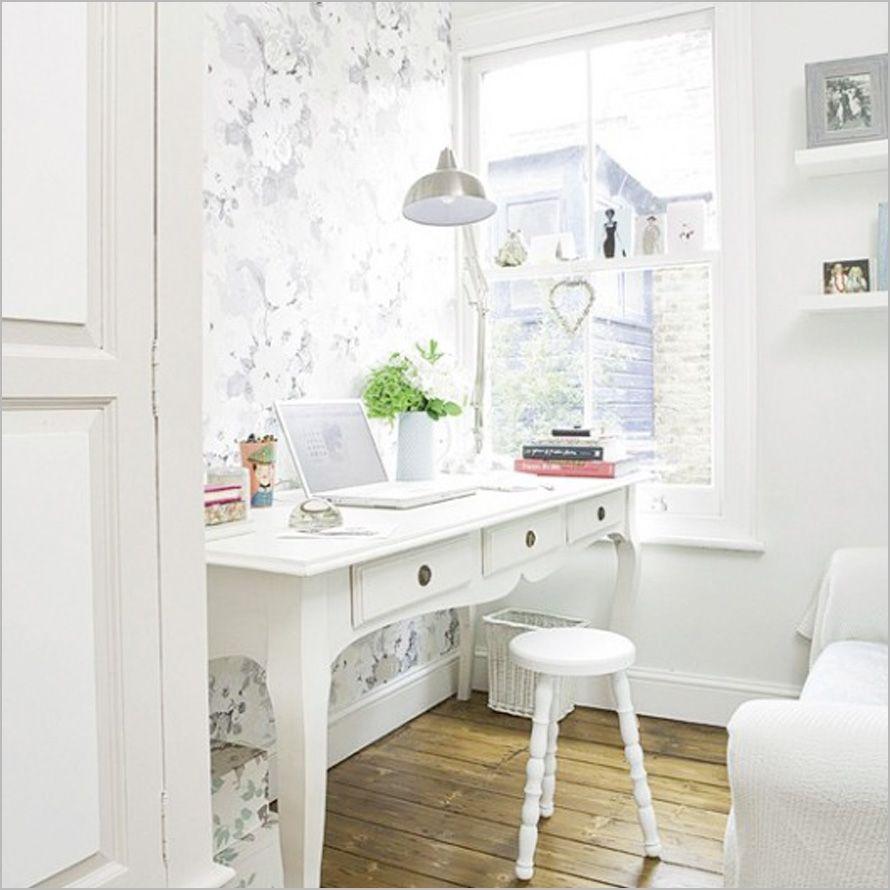 Office Design , Inspiring Feminine Office Furniture : Beautiful White  Feminine Office Furniture.