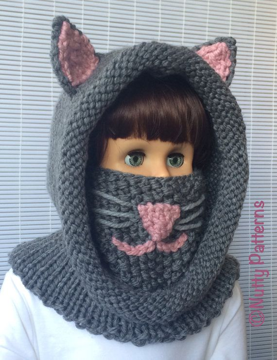 Knitting patterns Cat Hooded Cowl Instant by nuttypatterns #easyupdo