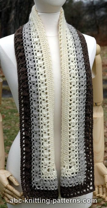 Free Crochet Pattern Snowy Evening Bobble Scarf By Abc Knitting