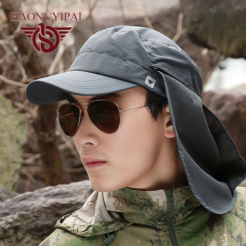 Mens Hats And Caps Brand New Summer Style Visor Sun Hat With Neck Protection Beach Outdoor Foldable Uni Fishing Garden