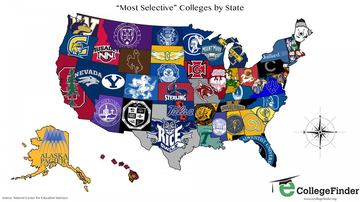 Map Of Colleges MAP: The Most Selective College In Each State | Interesting