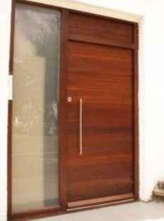 M029 puerta de madera con pa o fijo vidriado hogar en for Puertas principales de madera rusticas