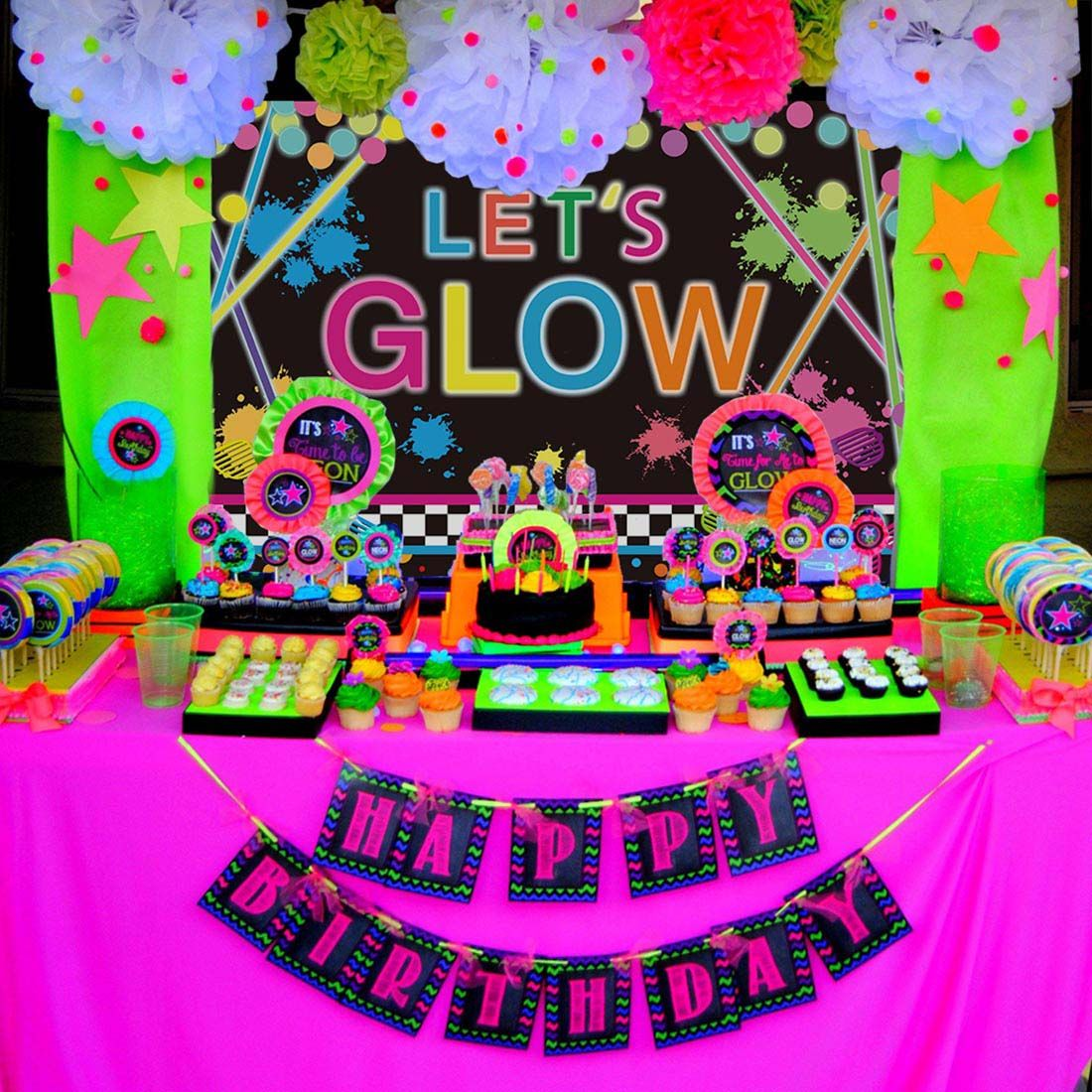 Allenjoy 7x5ft no creases neon glow backdrop lets crazy