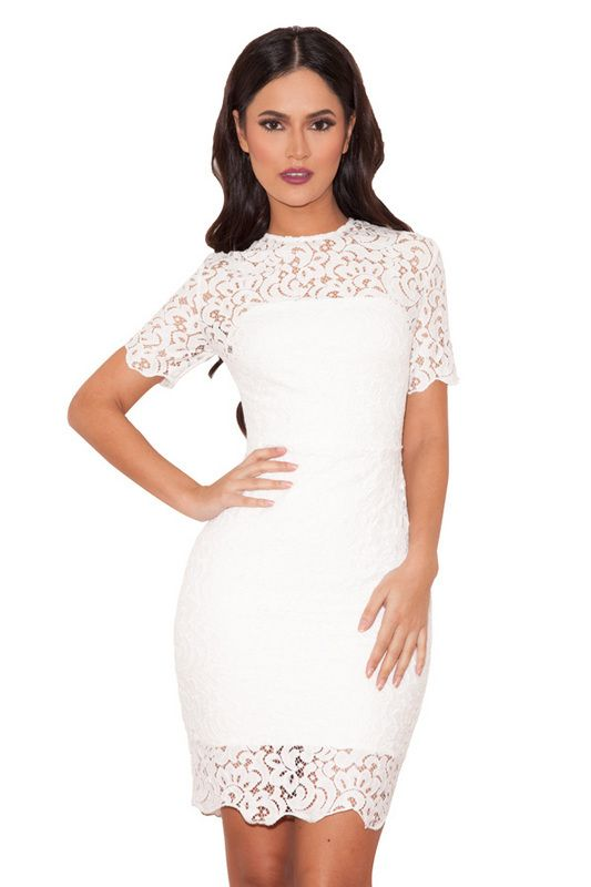 White Short Sleeve Celeb Lace Rayon Bandage Bodycon Boutique