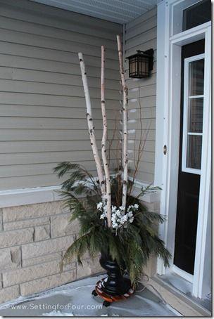 Urn Decor Brilliant Diy Winter Wreath Tutorial With Printable  Birch Branches Urn Decorating Design