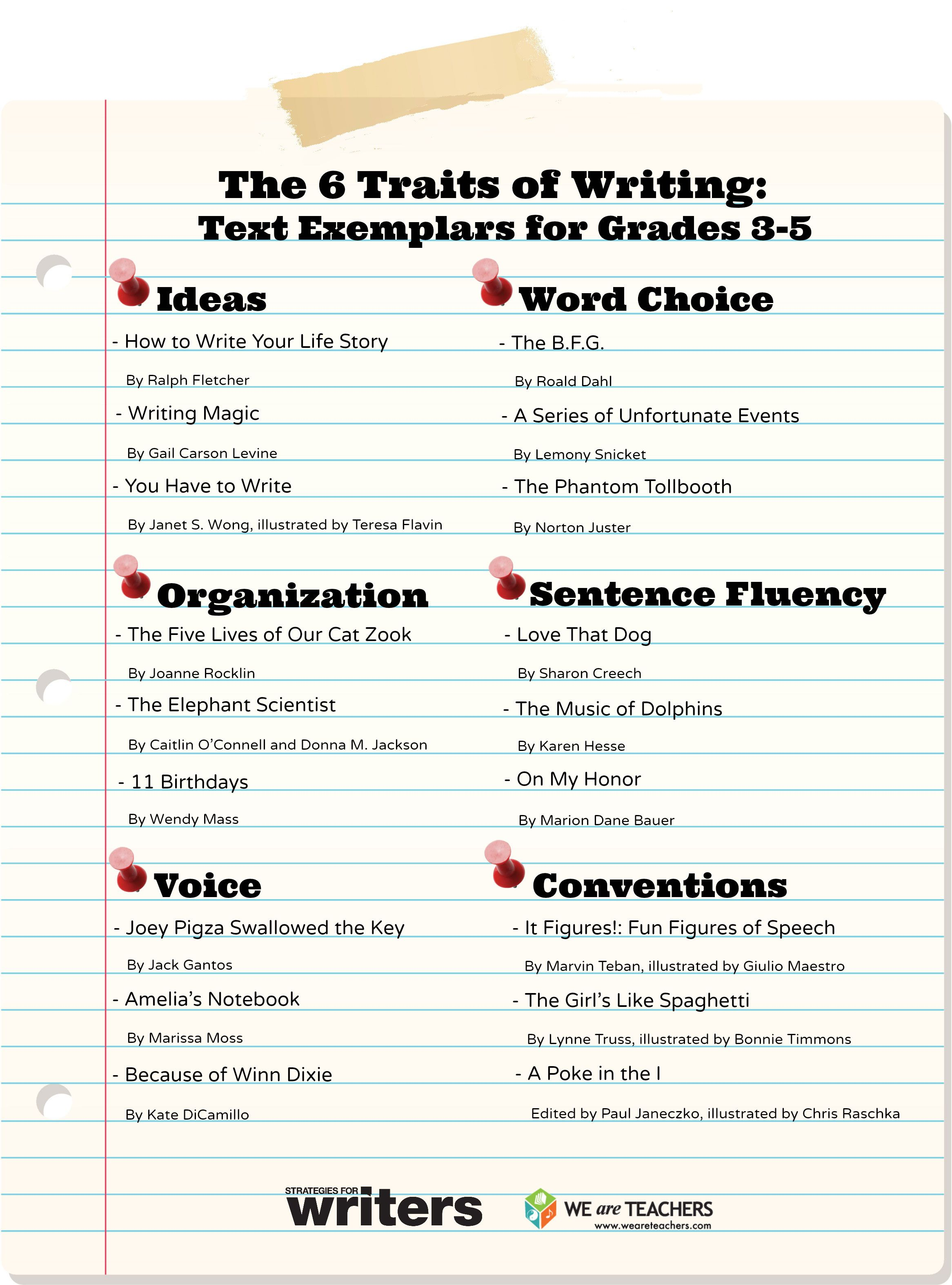 The Six Traits Of Writing Text Exemplars For Grades 3 5