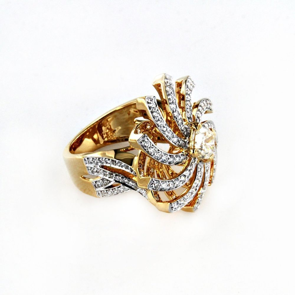 Yellow Gold Plated 925 Sterling Silver White Simulated Diamond Cluster Ring  #adorablejewelry #clusterring