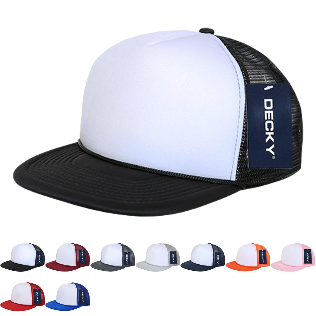 Wholesale Blank 2 Tone Trucker Foam Mesh Snapback Flat Bill Hats Decky 224 Flat Bill Hats Wholesale Blanks Trucker