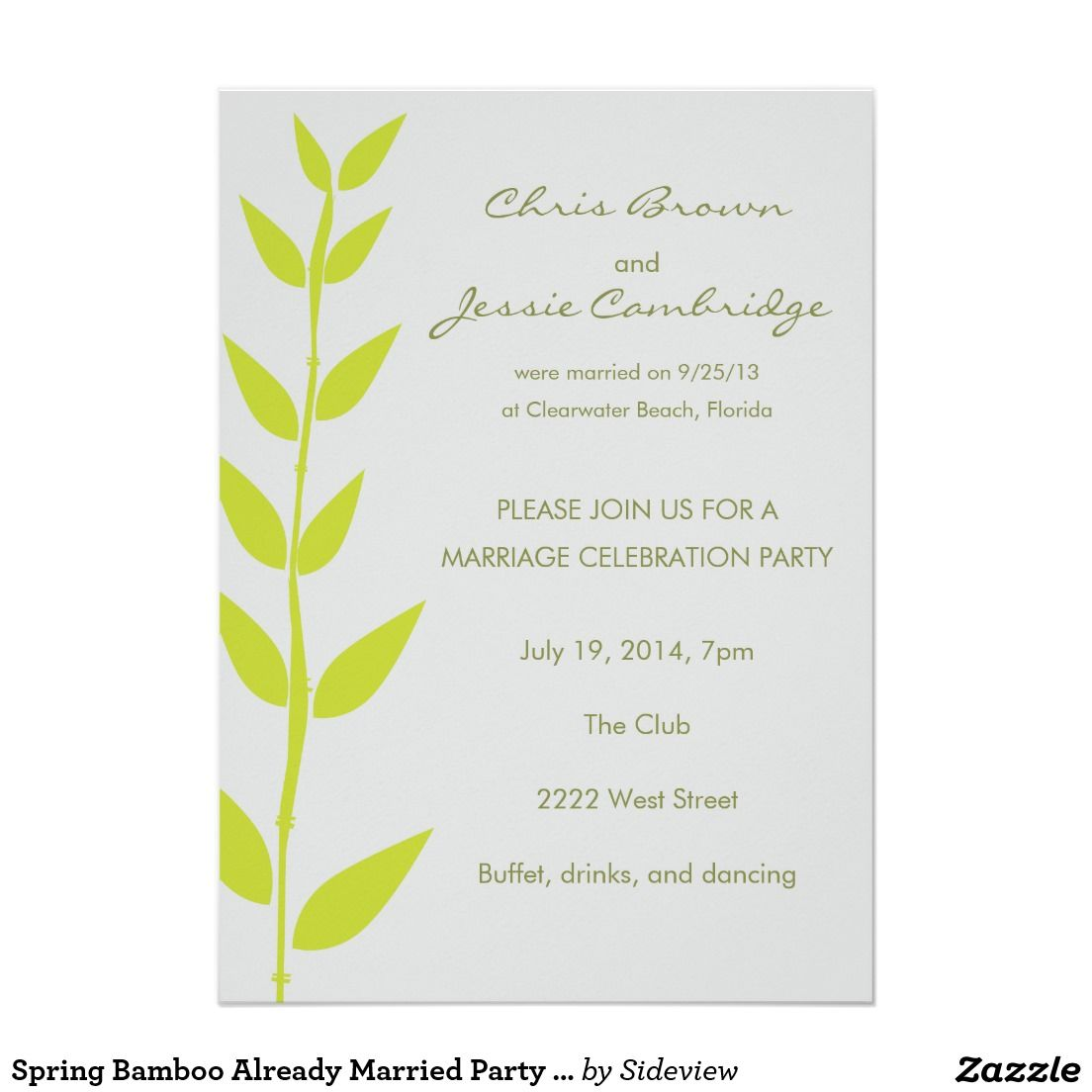 Wedding Invitation Wording Already Married Couple Google Search Spring Wedding Invitations Wedding Reception Invitations Reception Invitations