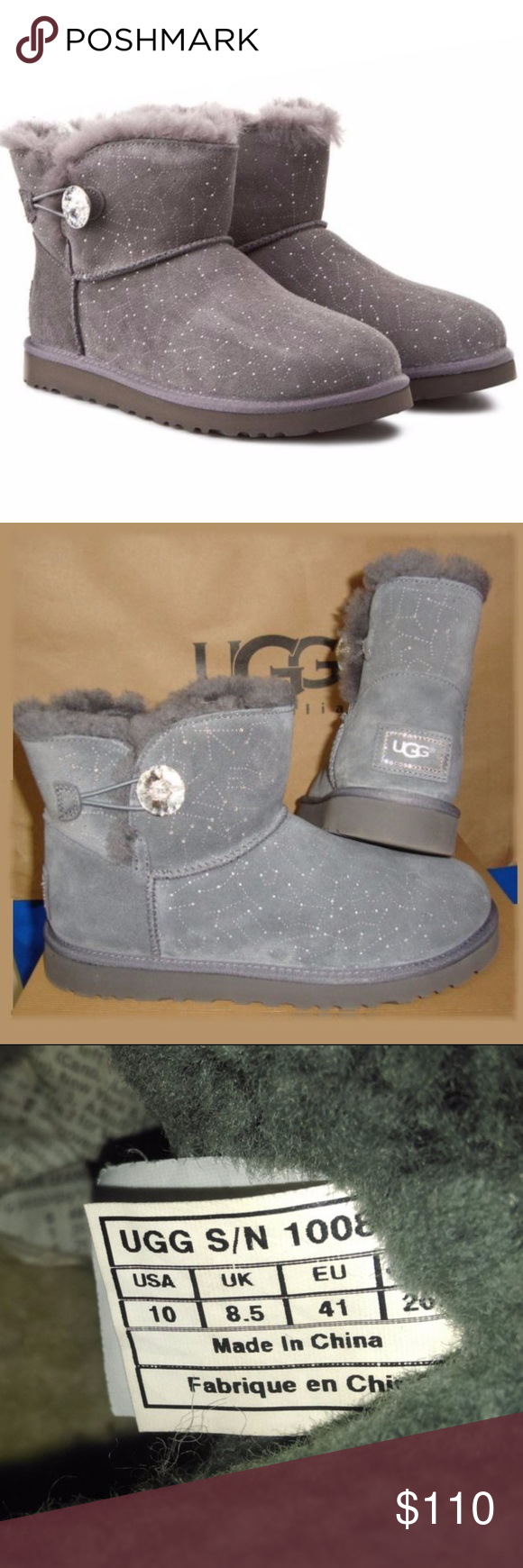 e63956c3bbb UGG Limited Edition Bailey Button Bling Gray - 10 Water-resistant ...