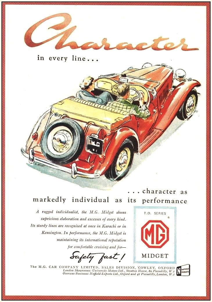 Character Inn Every Line The Mg Midget Car Advertising Vintage Sports Cars Car Posters