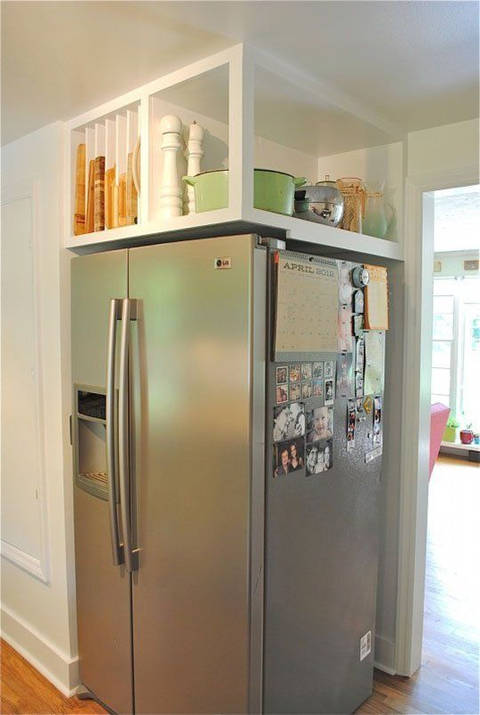 Ideas For Using That Awkward Space Above The Fridge Kitchen Remodel Small Kitchen Storage Space Kitchen Renovation