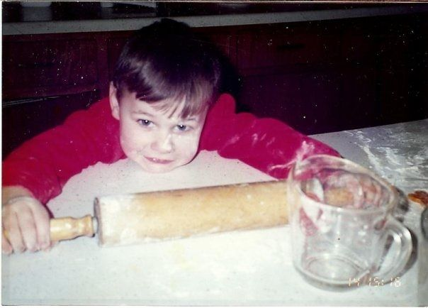 Spencer helping me bake when he was about 3