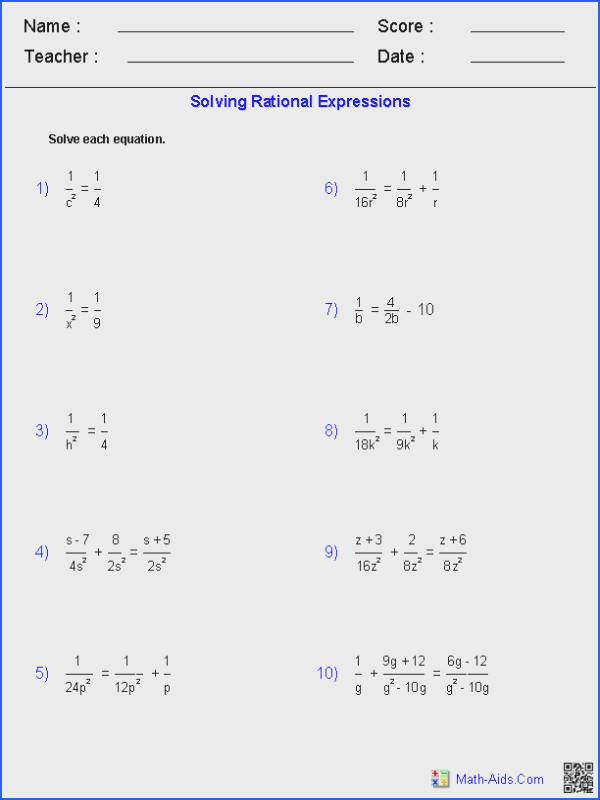 Solving Equations Worksheets & solve Linear Equation