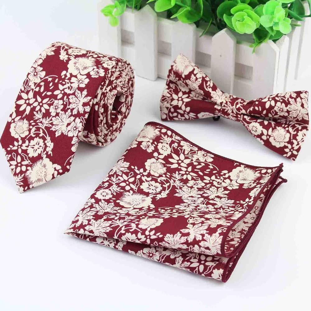 100% Cotton Neck Tie Set For Men Slim Tie Necktie Hankerchiref Papillon Wedding Bowties Cravat Corbatas