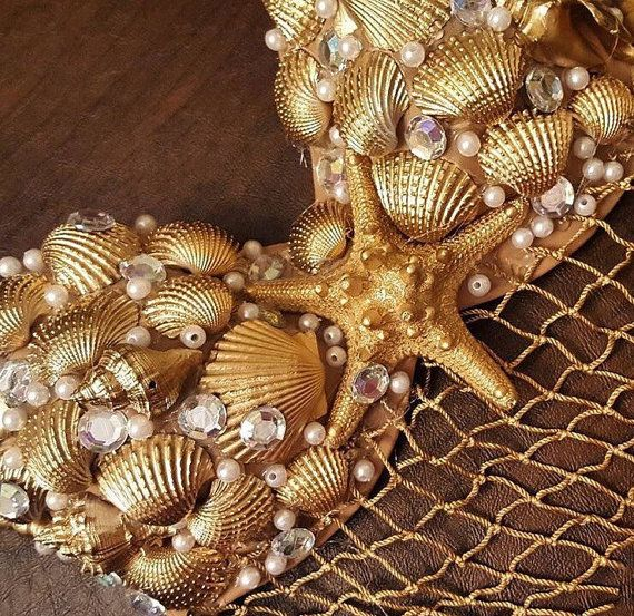 Gold mermaid bra by Bellsuniquecreations on Etsy