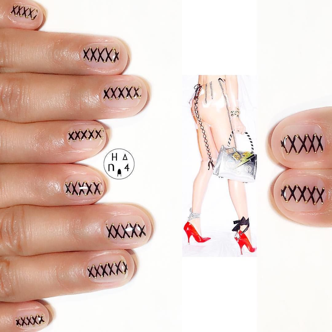 Looooove this design Laceup nail is so cool