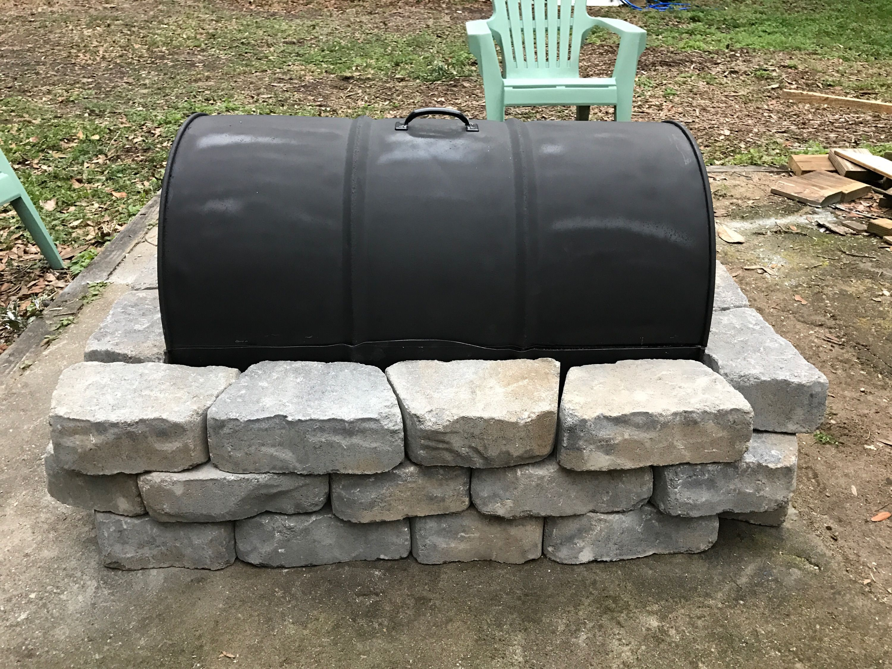 Inexpensive Fire Pit made from a 55 Gallon Drum, a grate from ...