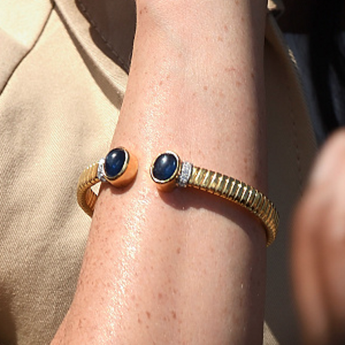 Princess Diana's Gold Cuff Bracelet With Blue Stones As