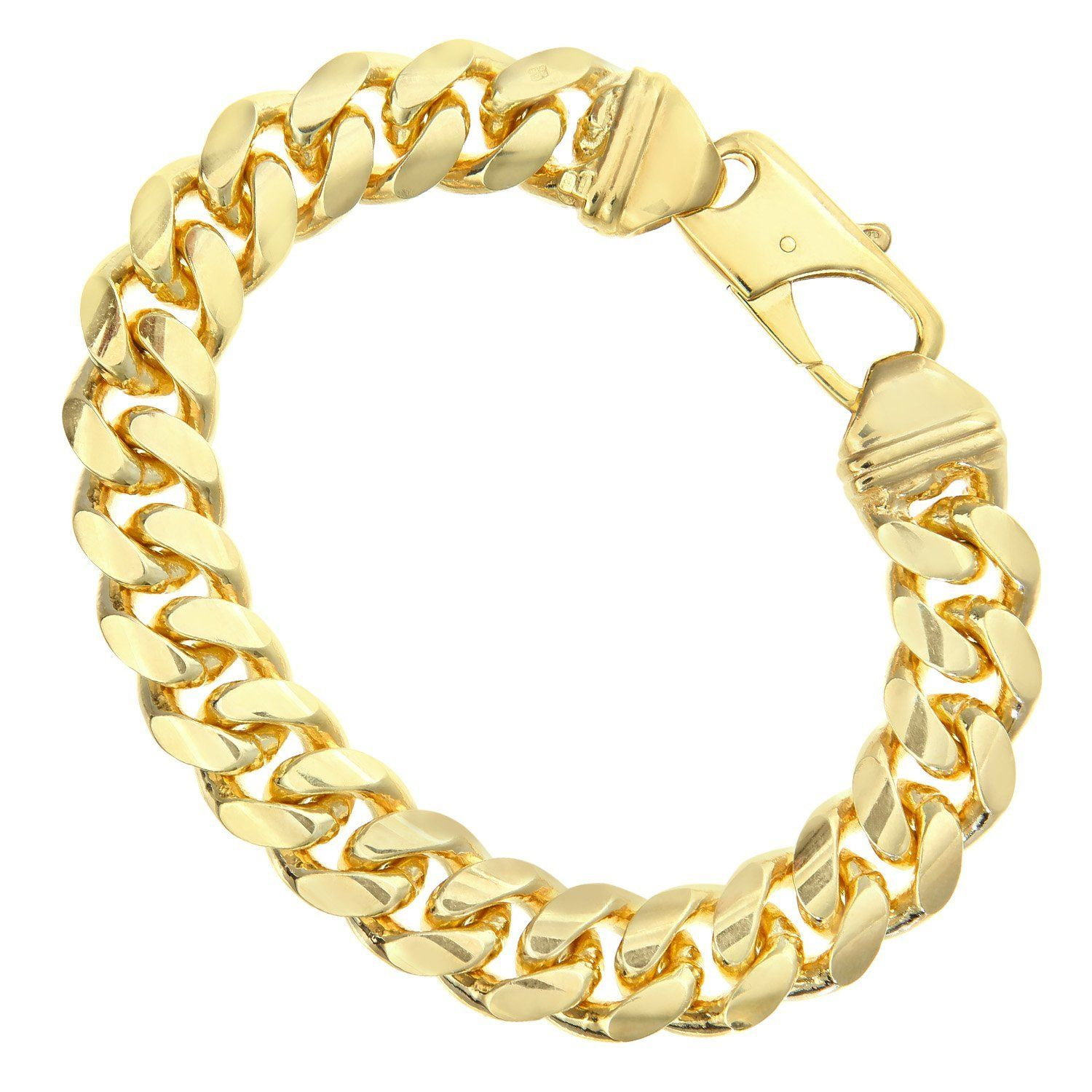 Citerna Gold Plated Silver Men's Solid Curb Chain Necklace SAC200 XdjMI2tT