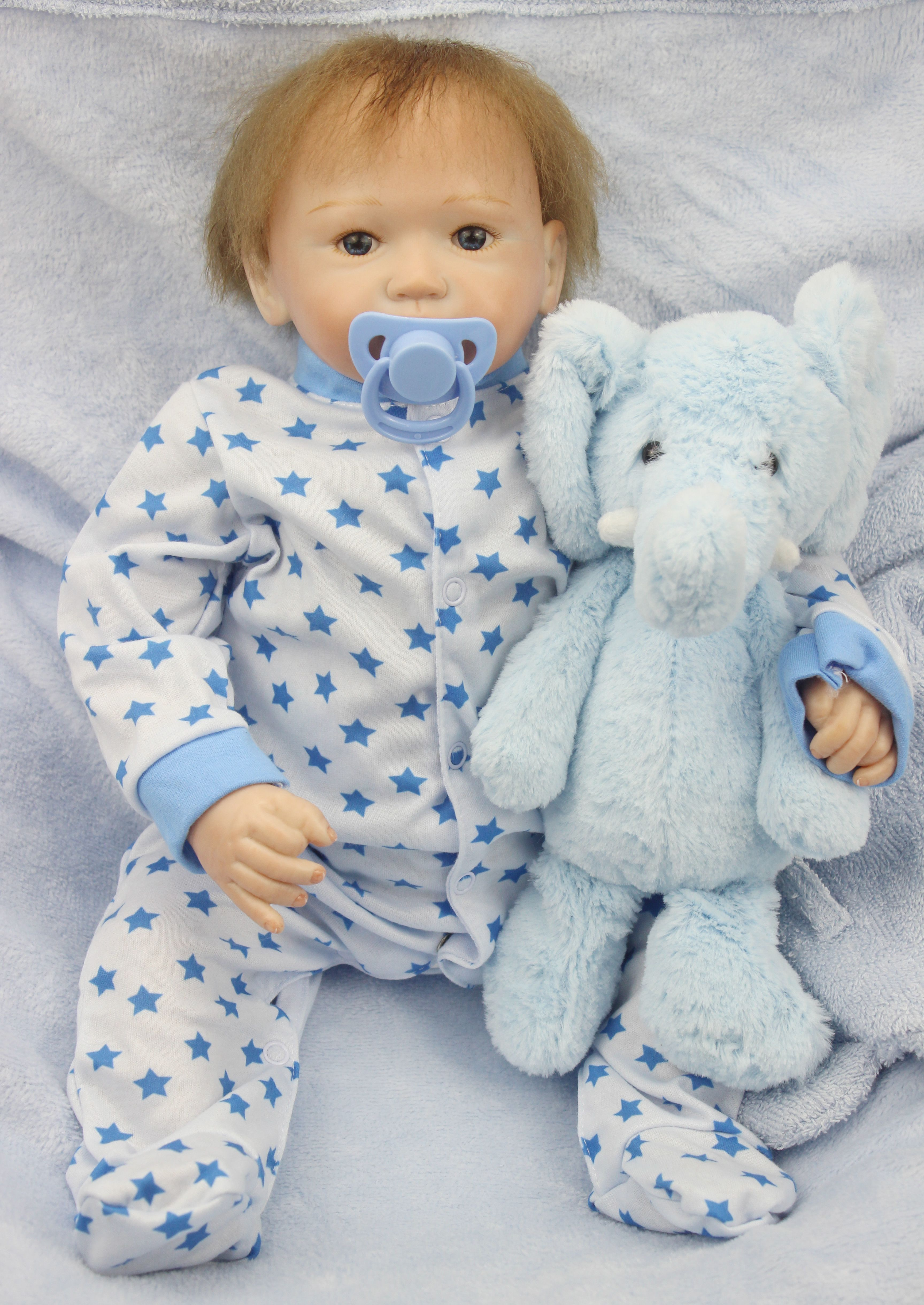 Reborn Baby Boy Dolls Toddler 22 inches Real Life Look Baby Dolls Boy with Bear