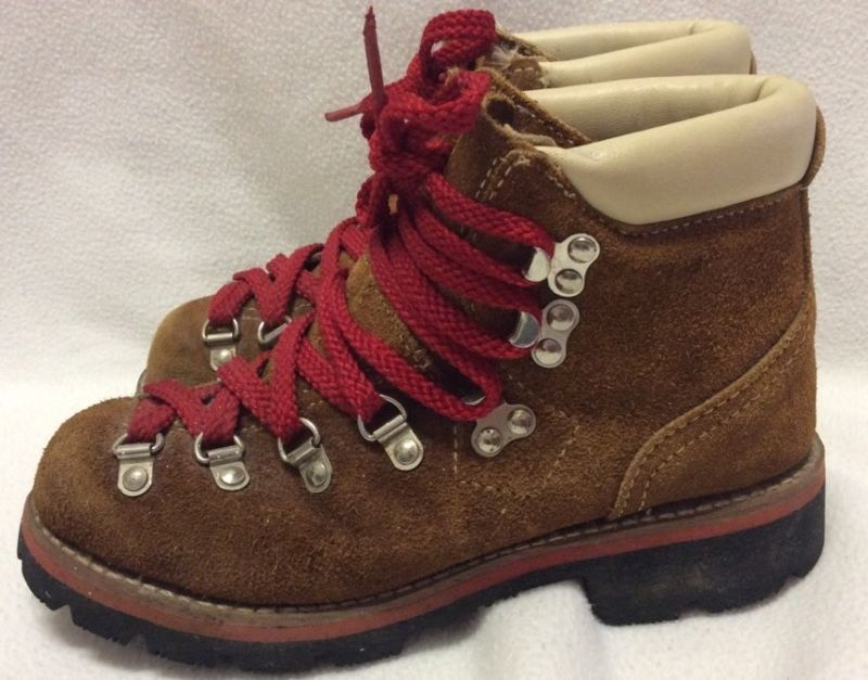 Vintage Brooks Brown Leather Suede Hiking Boots Size 6