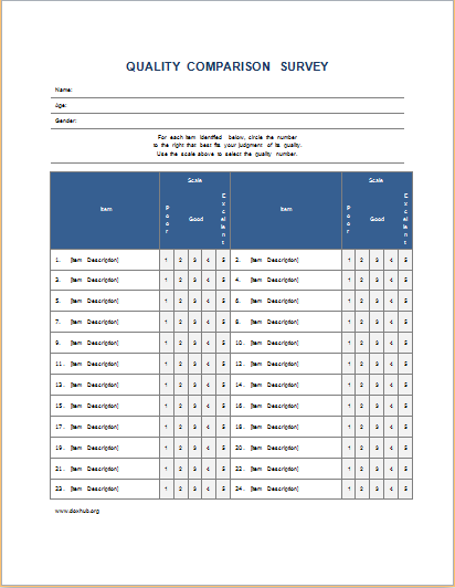 Quality comparison survey form DOWNLOAD at http://www.doxhub.org ...
