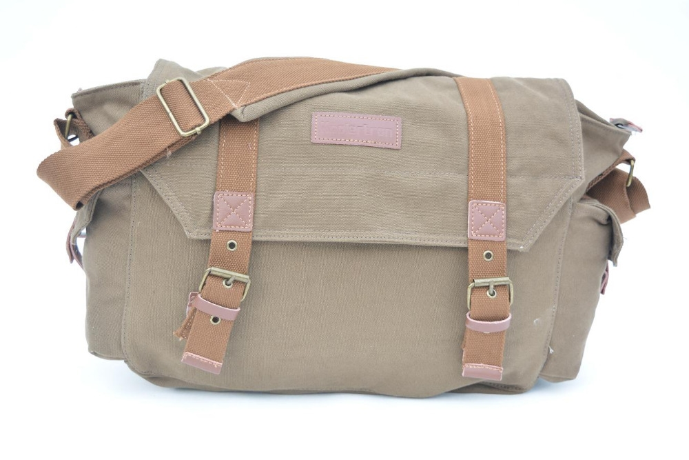 43.50$  Watch here - http://aliju6.worldwells.pw/go.php?t=32482160270 - Free shipping 2015 New arrival canvas bags with genuine leather straps vintage fabric messenger bag with internal camera box 43.50$