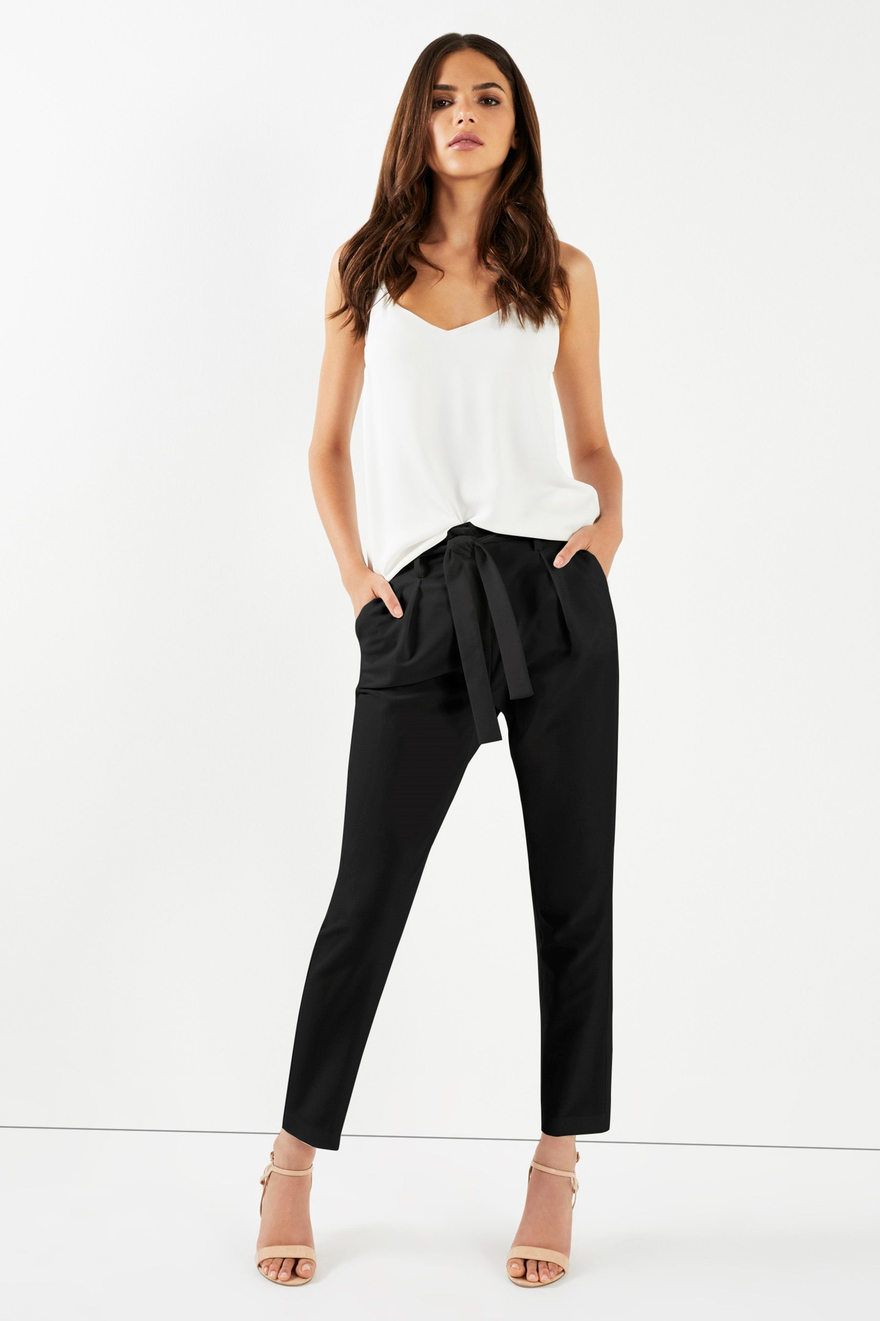 e40680e1a340 Womens Lipsy Tailored Elasticated Waist Tapered Trousers - Red ...