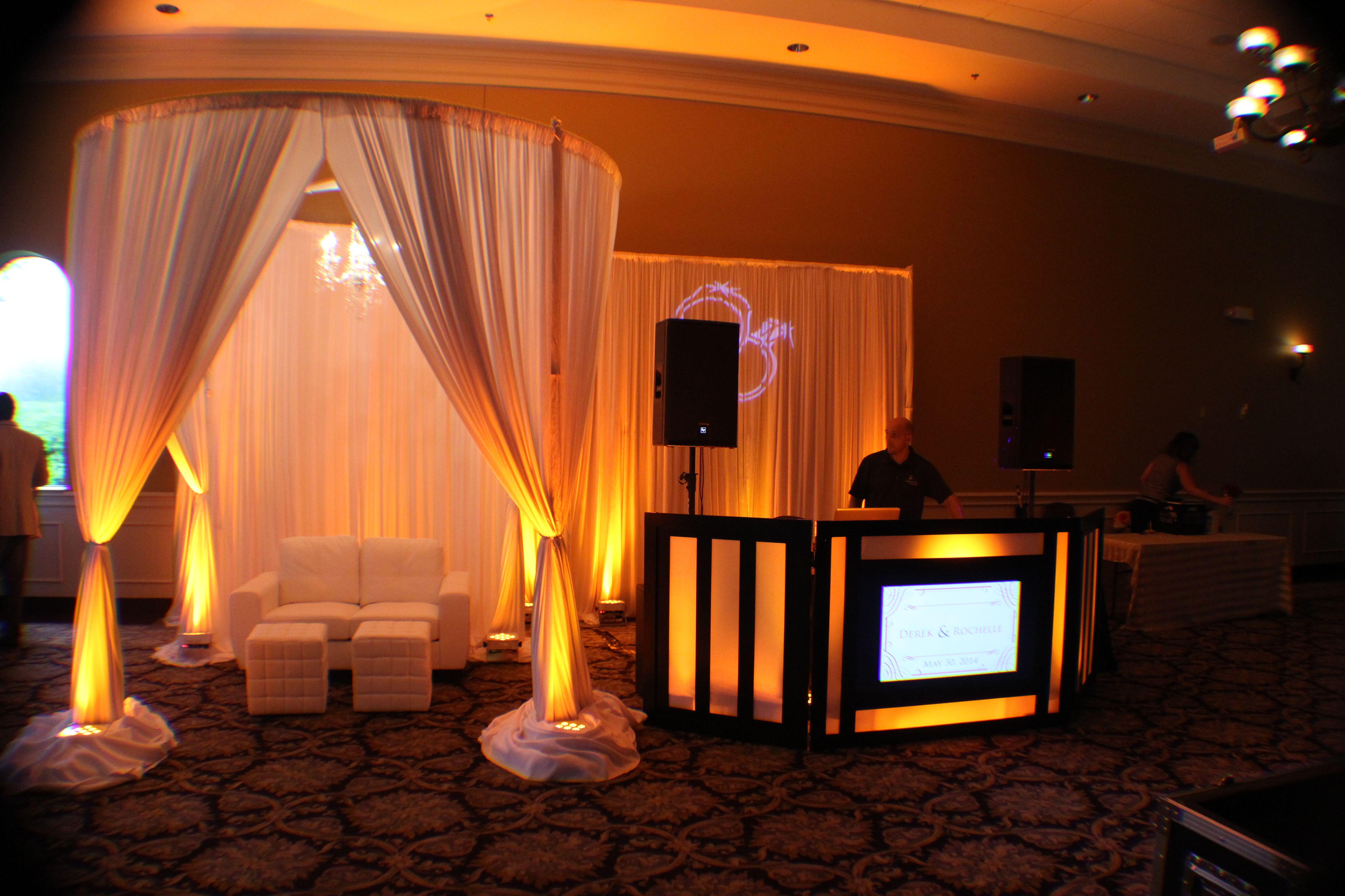 Our Bridal Show Setup Of Our Elegant Round Draping Chuppah With Chandelier Lounge Furniture Led Dj Booth With Monogram Wedding Dj Setup Wedding Dj Uplighting