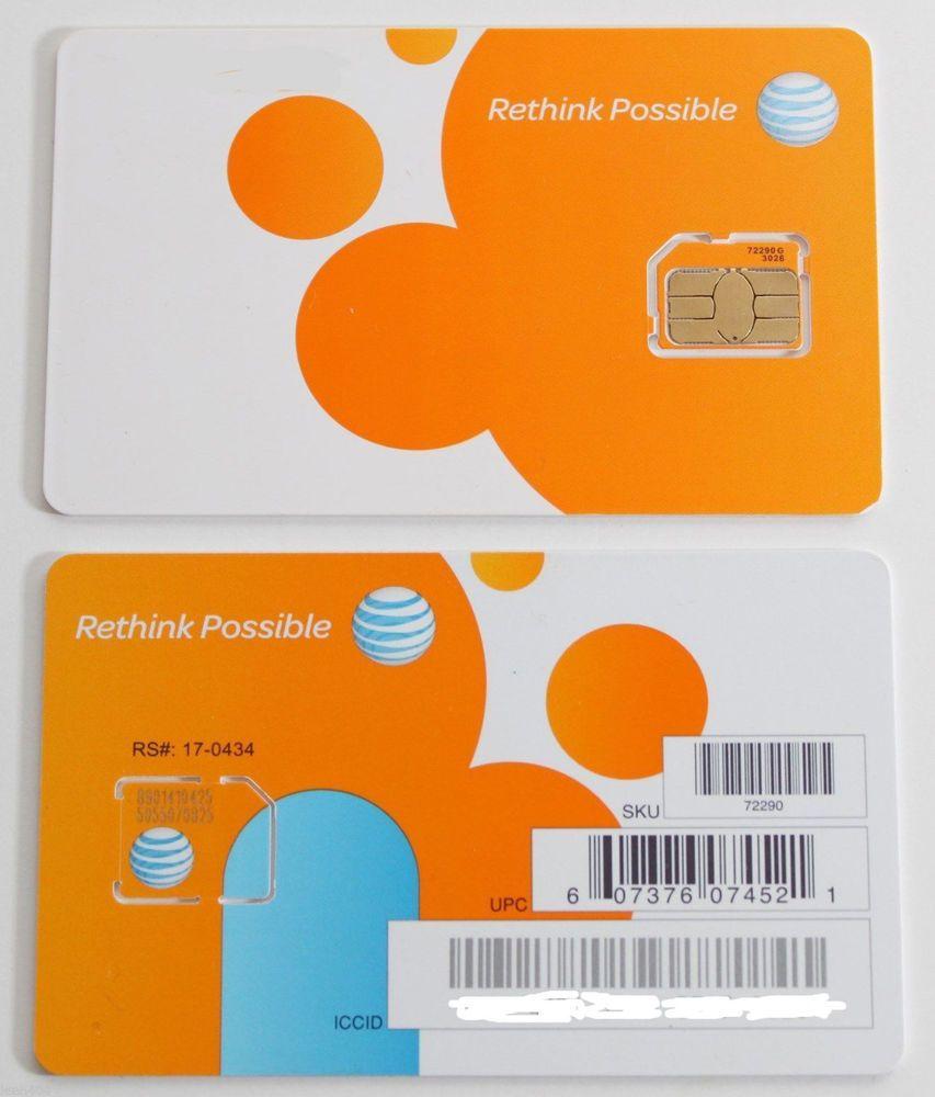 At T Sim Card 3g 4g Prepaid Postpaid Micro Sim Card Ready To