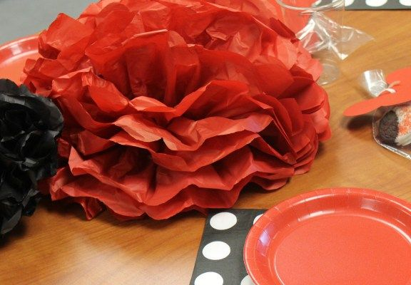 Red, Black, and White Table Top Decorations
