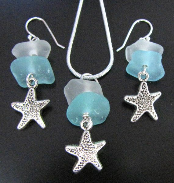 Sea Glass Jewelry, Genuine Beach Combed Seaglass - Blue and Green Sea Glass Necklace and Earrings Gift Set, Sea Star, Jewellery