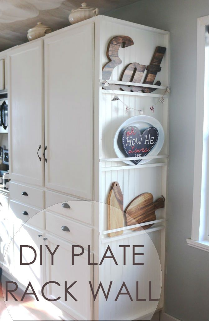 My DIY Kitchen: Plate Rack Wall - Made by Carli #plateracks