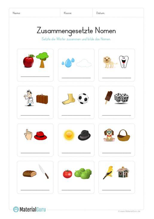 arbeitsblatt zusammengesetzte nomen mit bildern erkennen daz spiele kindergarten deutsch. Black Bedroom Furniture Sets. Home Design Ideas