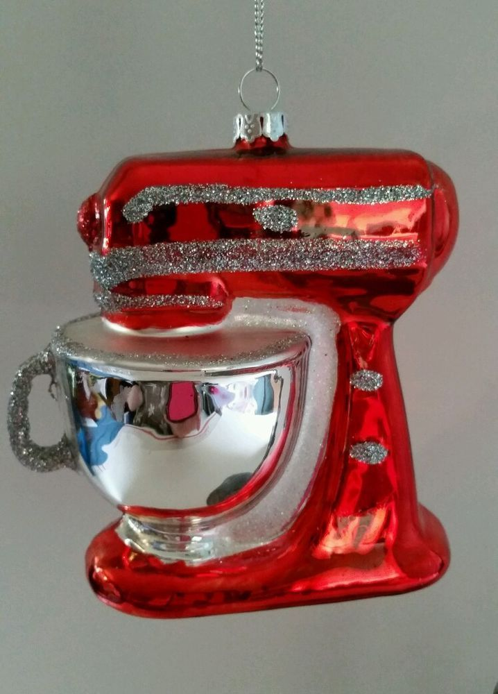 Kitchen Mixer Red Glass Christmas Ornament NWT | Christmas Cheer ...