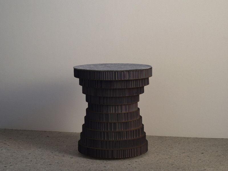 Tavolini tavolino sgabello cartone nero e feltro colorato un