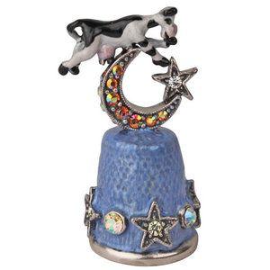 Kirks Folly Over The Moon Cow Thimble Silvertone | Thimble #thimbles #thimble #sewing