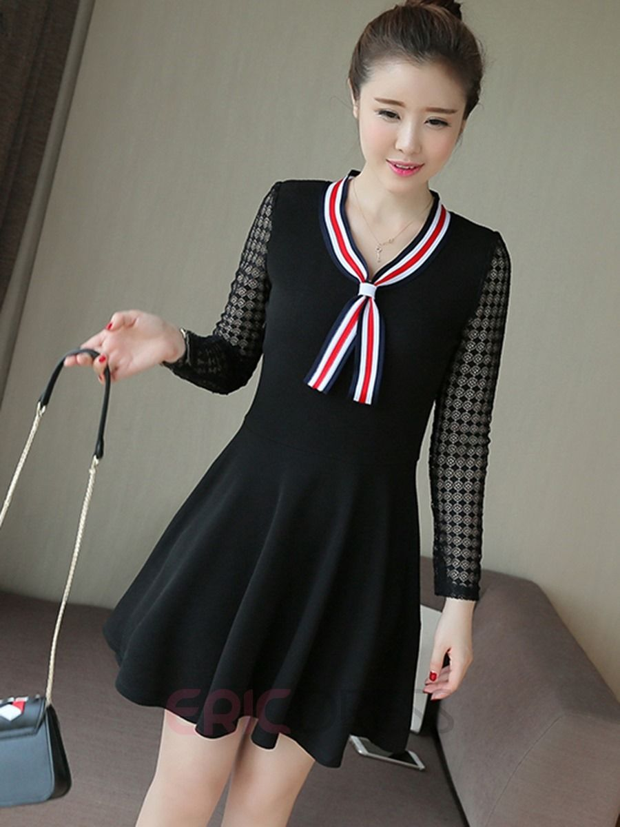 Stripe patchwork long sleeve casual dress in mau t