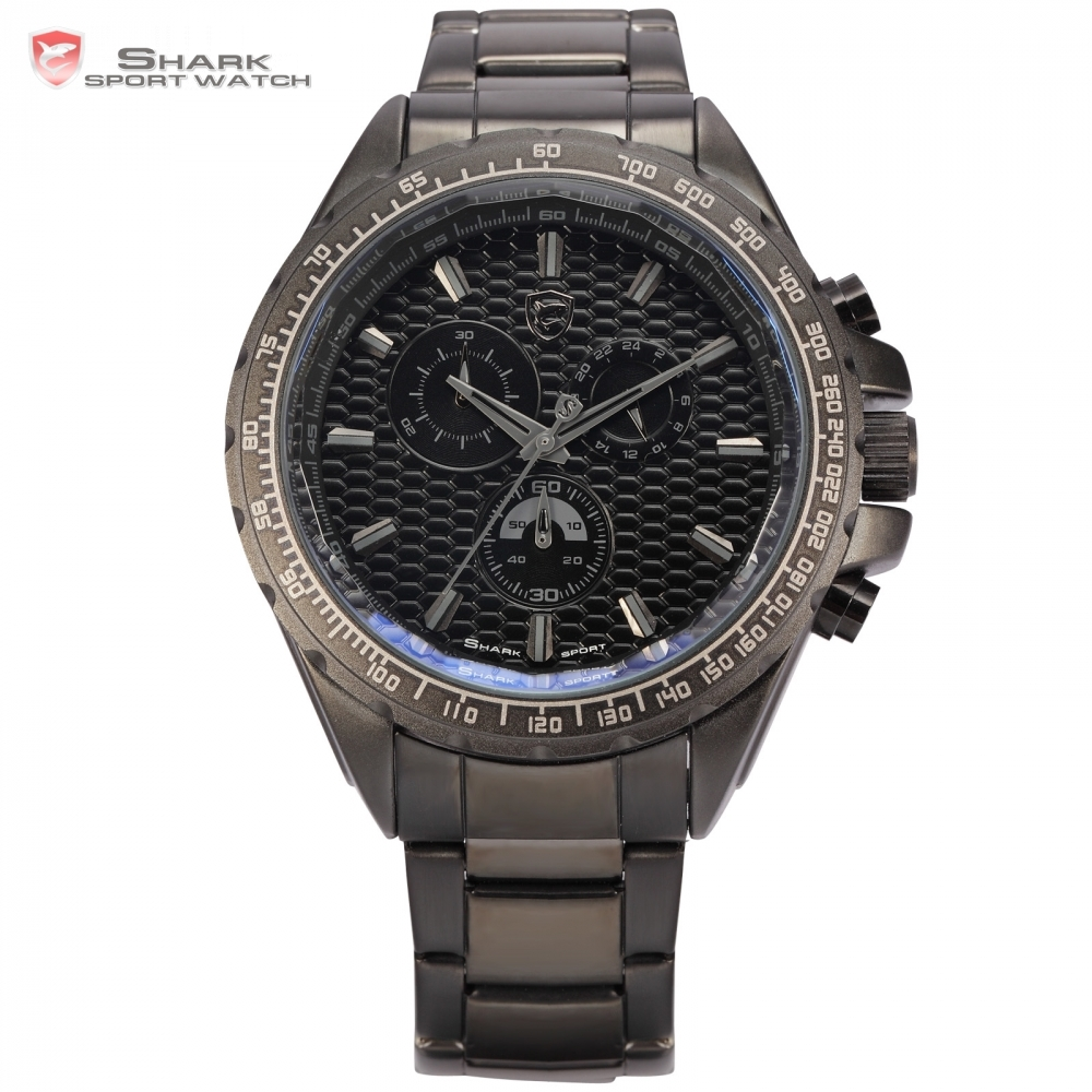 59.99$  Buy now - http://alivsj.worldwells.pw/go.php?t=1961427345 - Shark Sport Watch Men Brand New Black Full Steel Chronograph 24 Hours Display Clock Relogios Masculino Military Montre / SH187 59.99$