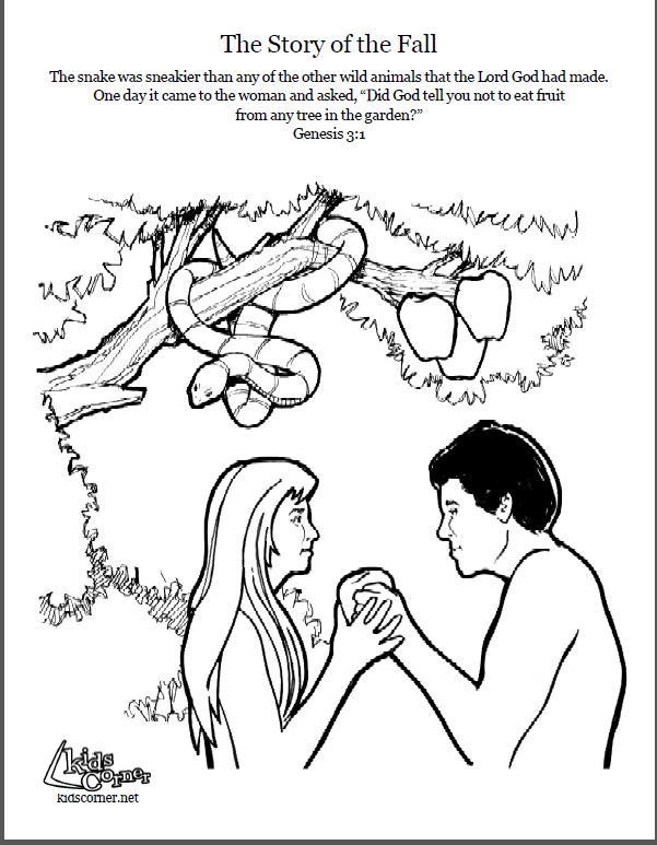 Adam and Eve Coloring page script and Bible story http