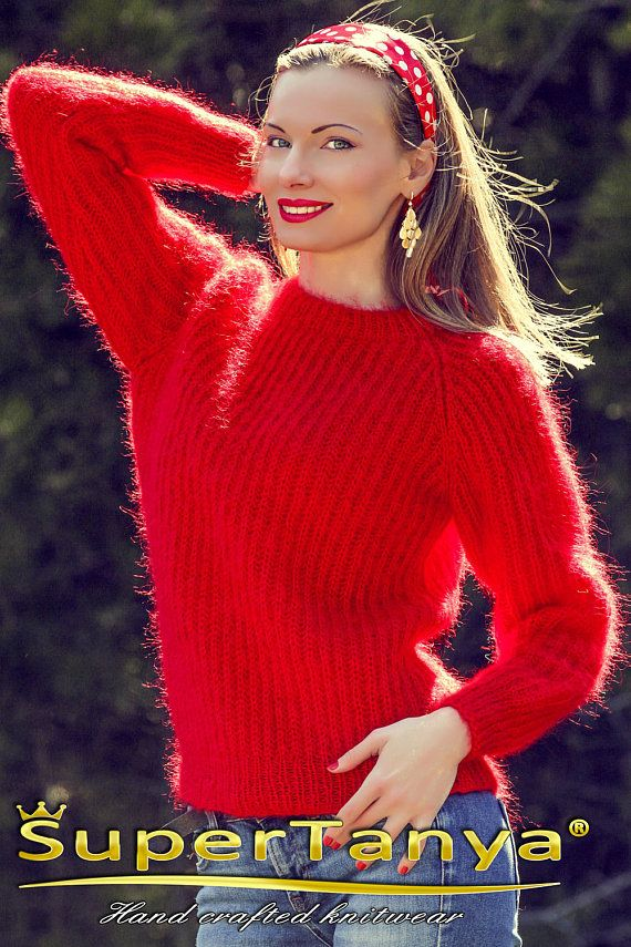 Light summer mohair sweater red jumper fuzzy blouse by SuperTanya ...