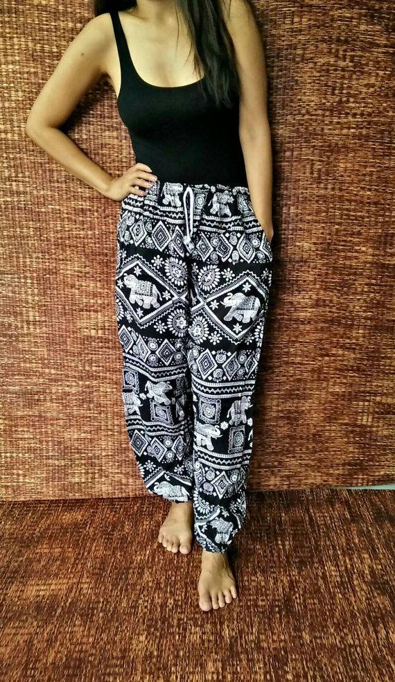 a20f5312b1 Elephants Yoga Harem Pants Boho Fabric Baggy Comfy Style Hippie ...