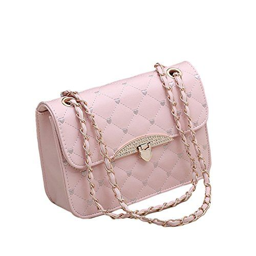 New Quilted Faux Leather Gold Chain Cross Body Handbag Vintage Evening Bag  Pink --    AMAZON BEST BUY    fcd5e8b81e