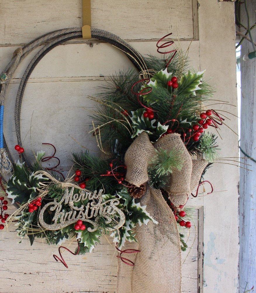 Cowboy Christmas Decor: Western Cowboy Christmas Wreath Made
