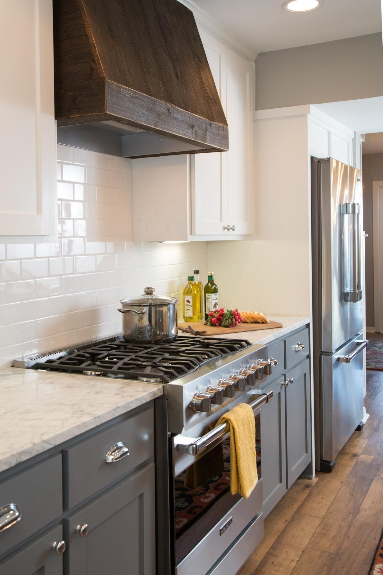 Kitchen With Dark Wood Vent Hood Fixer Upper Kitchen Kitchen