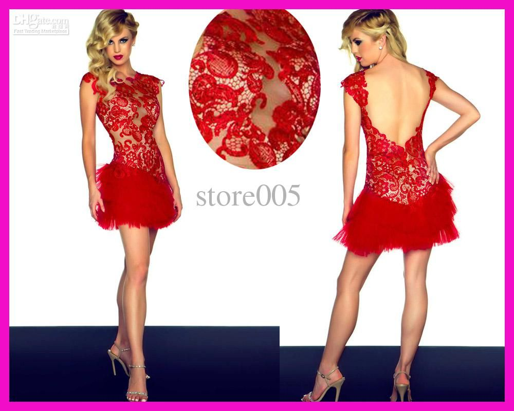 Cheap Fancy Asian Red Lace Cocktail Party Dresses Cap Sleeve ...