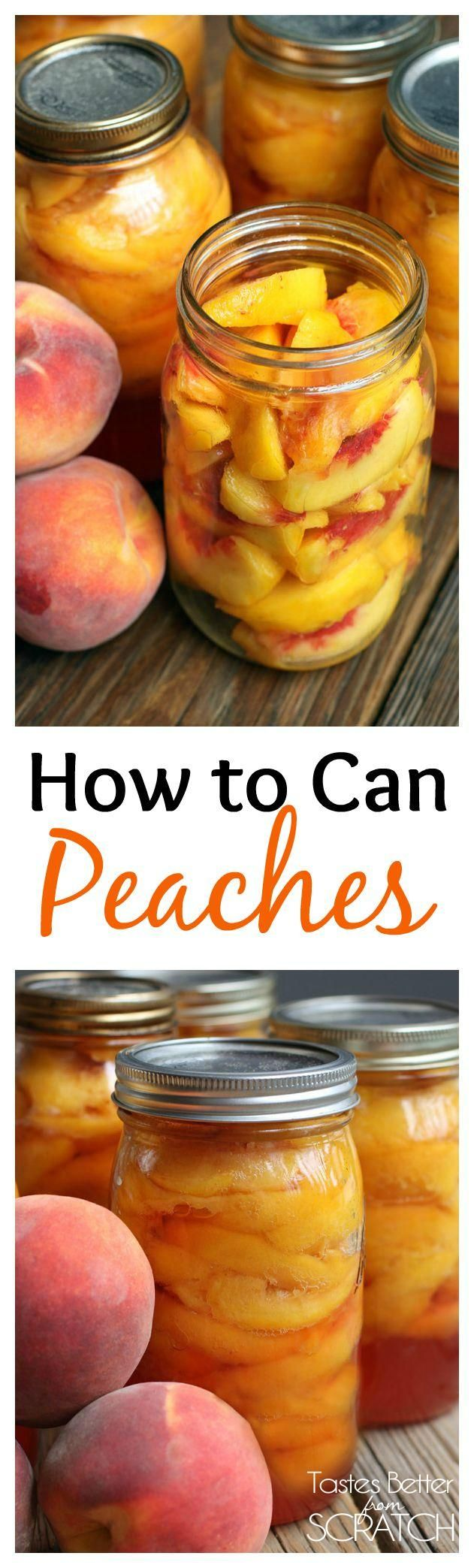 There's nothing better than home canned peaches! Find the easy instructions on TastesBetterFromScratch.com: